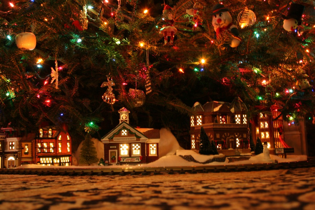Christmas tree and village