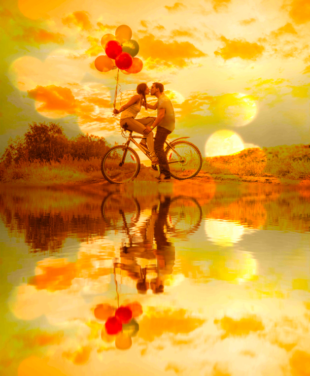 Silhouette of two people - Young couple sitting at one bicycle G